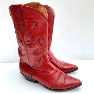 Nine West Red Leather Western Boots Size 10